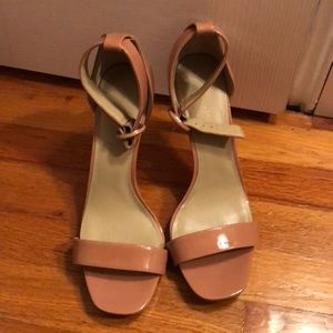 Ann Taylor Patent leather nude pink sandals